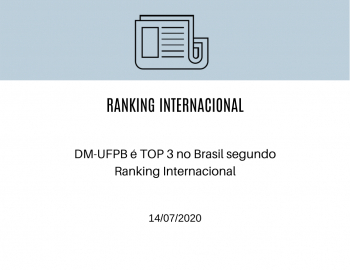 DM-UFPB é TOP 3 no Brasil segundo Ranking Internacional