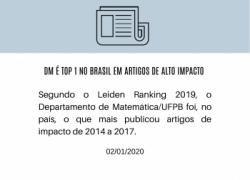 DM é Top 1 no Brasil em artigos de alto impacto