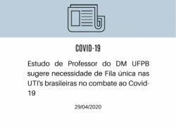 Estudo de Professor do DM-UFPB no combate ao Covid-19
