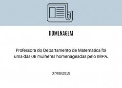 Professora Flávia Jeronimo Barbosa é homenageada em evento nacional de Matemática.