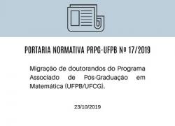 Portaria Normatica PRPG-UFPB Nº 17/2019