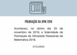 Premiação da Olimpíada Pessoense de Matemática 2019