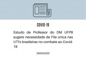 Estudo de Professor do DM-UFPB no combate ao Covid-19