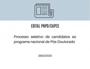 Processo seletivo de candidatos ao Programa Nacional de Pós-Doutorado