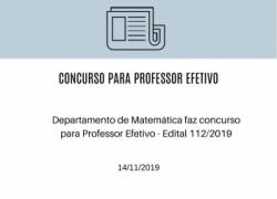 Departamento de Matemática faz concurso para Professor Efetivo